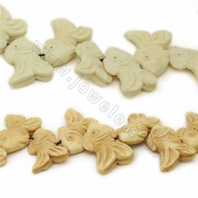 Handmade Carved Ox Bone Beads Strands, Fish, Size 25x35mm, Hole 1mm, 15 beads/strand