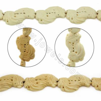 Handmade Carved Ox Bone Beads Strands, Fish, Size 30x50mm, Hole 1mm, 8 beads/strand