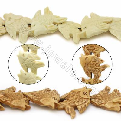 Handmade Carved Ox Bone Beads Strands, Fish, Size 25x35mm, Hole 1mm, 18 beads/strand