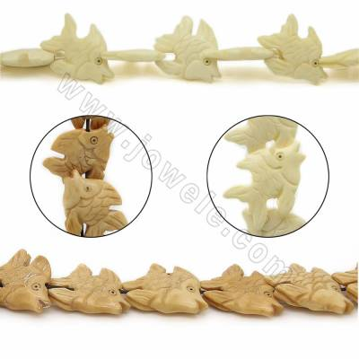 Handmade Carved Ox Bone Beads Strands, Fish, Size 25x20mm, Hole 1mm, 22 beads/strand