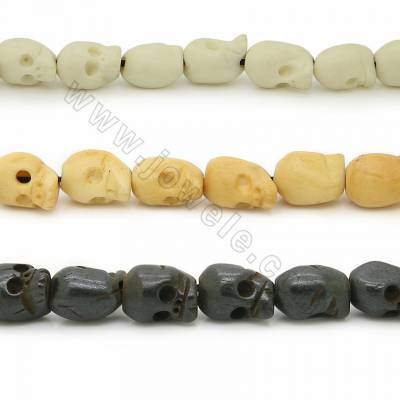 Handmade Carved Ox Bone Beads Strands, Skull Head, Size 10x11mm, Hole 1~2mm, 36 beads/strand