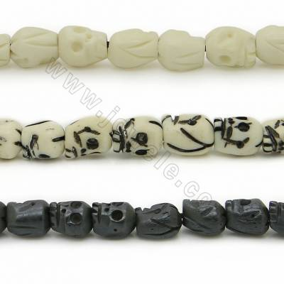 Grade A Quality Handmade Carved Ox Bone Beads Strands, Skull Head, Size 7x8mm, Hole 1~2mm, 50 beads/strand