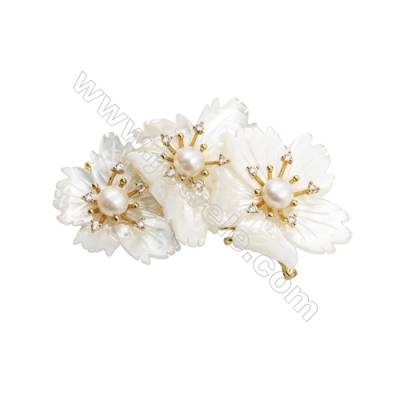White Flower Mother-of-pearl Shell CZ Brooch x 1Piece  Gold Plated  Size 39x70mm