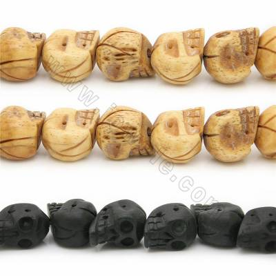 Grade A Quality Handmade Carved Ox Bone Beads Strands, Skull Head, Size 15x16mm, Hole 1~2mm, 28 beads/strand