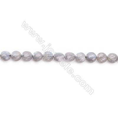Natural Labradorite Beads Strand  Flat Oval Diameter 8mm  hole 1mm  about 50 beads/strand 15~16""