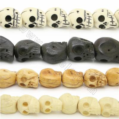 Grade A Quality Handmade Carved Ox Bone Beads Strands, Skull Head, Size 19x21mm, Hole 1~2mm, 19 beads/strand