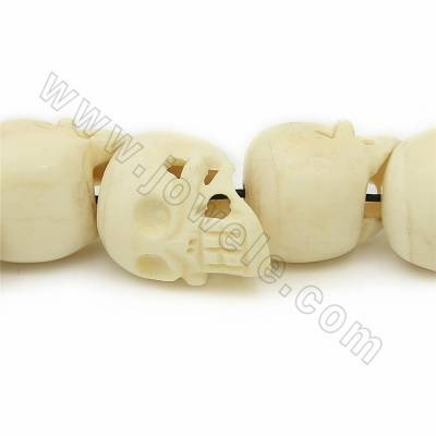 Grade A Quality Handmade Carved Ox Bone Beads Strands, Skull head, White, Size 25x30mm, Hole 1~2mm, 17 beads/strand