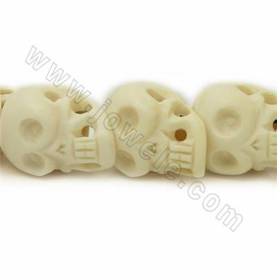 Grade A Quality Handmade Carved Ox Bone Beads Strands, Skull head, White, Size 30x42mm, Hole 1~2mm, 14 beads/strand