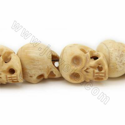 Grade A Quality Handmade Carved Ox Bone Beads Strands, Skull head, Yellow, Size 27x37mm, Hole 1~2mm, 16 beads/strand
