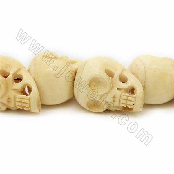 Grade A Quality Handmade Carved Ox Bone Beads Strands Skull Head Yellow Size 30x40mm Hole 1