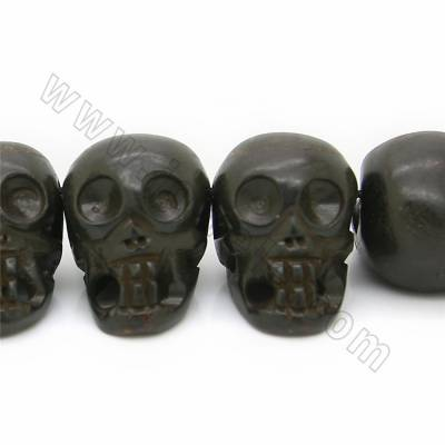 Grade A Quality Handmade Carved Ox Bone Beads Strands, Skull head, Black, Size 25x35mm, Hole 1~2mm, 17 beads/strand
