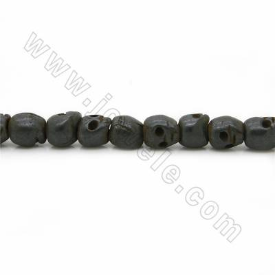 Grade A Quality Handmade Carved Ox Bone Beads Strands, Skull head, Black, Size 9x10mm, Hole 1~2mm, 25 beads/strand