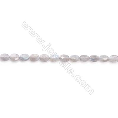 Natural Labradorite Beads Strand  Faceted Oval  Size 6x8mm  hole 1mm  about 48 beads/strand 15~16""