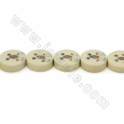 Handmade Carved Ox Bone Beads Strands, Flat Round with Frog Pattern, Yellow, Size 16.5x16.5mm, Hole 1mm, 25beads/strand
