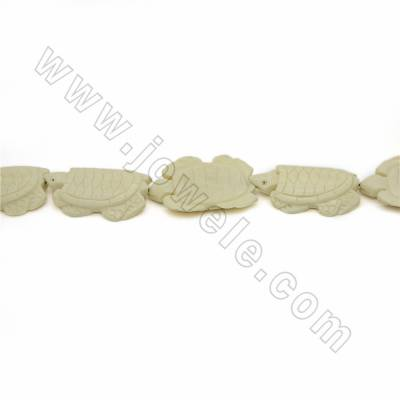 Handmade Carved Ox Bone Beads Strands, Tortoise, White, Size 33x46mm, Hole 1mm, 10 beads/strand