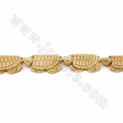 Handmade Carved Ox Bone Beads Strands, Tortoise, Yellow, Size 30x43mm, Hole 1mm, 10 beads/strand