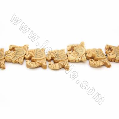 Handmade Carved Ox Bone Beads Strands, Tortoise, Yellow, Size 30x40mm, Hole 1mm, 17 beads/strand