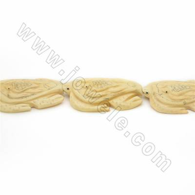 Handmade Carved Ox Bone Beads Strands, Sea turtle, Pale-yellow, Size 38x53mm, Hole 1mm, 8 beads/strand