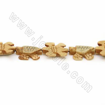 Handmade Carved Ox Bone Beads Strands, Sea turtle, Yellow, Size 20x25mm, Hole 1mm, 20 beads/strand