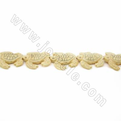 Handmade Carved Ox Bone Beads Strands, Sea turtle, Pale-yellow, Size 30x32mm, Hole 1mm, 12 beads/strand