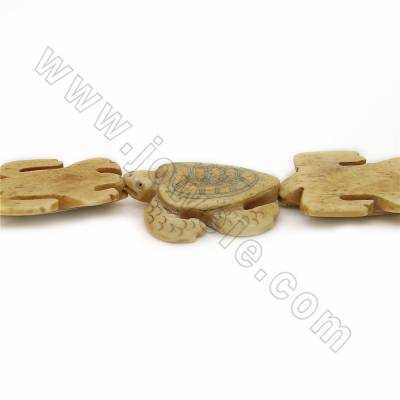 Handmade Carved Ox Bone Beads Strands, Sea turtle, Yellow, Size 26x38mm, Hole 1mm, 10 beads/strand