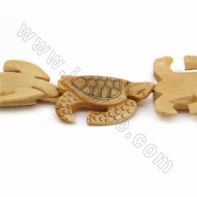 Handmade Carved Ox Bone Beads Strands, Sea turtle, Yellow, Size 36x44mm, Hole 1mm, 10 beads/strand