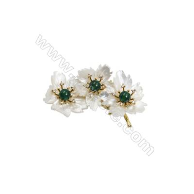 White Flower Mother-of-pearl Shell CZ Brooch x 1Piece  Gold Plated  Size 35x71mm