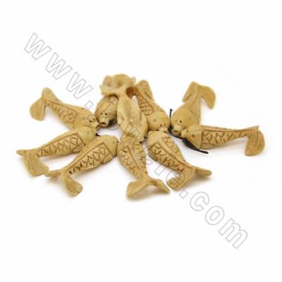 Handmade Carved Ox Bone Beads Strands, Fish, Yellow, Size 30x60mm, Hole 1mm, 10 beads/strand