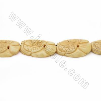 Handmade Carved Ox Bone Beads Strands, Fish, Pale-yellow, Size 43x30mm, Hole 1mm, 10 beads/strand