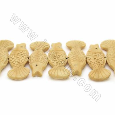 Handmade Carved Ox Bone Beads Strands, Fish, Yellow, Size 20x60mm, Hole 1mm, 14 beads/strand