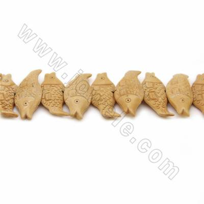 Handmade Carved Ox Bone Beads Strands, Fish, Yellow, Size 45x18mm, Hole 1mm, 22 beads/strand