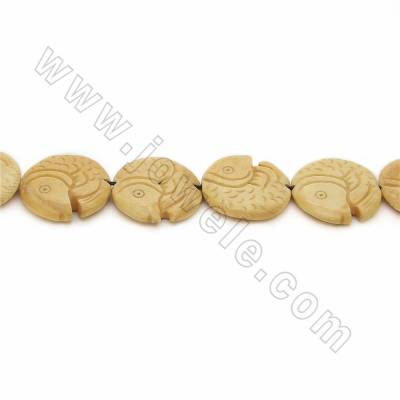 Handmade Carved Ox Bone Beads Strands, Fish, Yellow, Size 27.5x27.5mm, Hole 1mm, 10 beads/strand