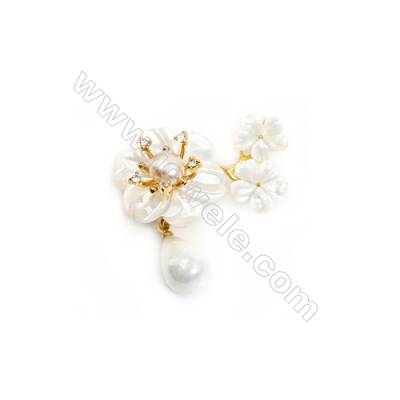 White Flower Mother-of-pearl Shell CZ Brooch x 1Piece Gold Plated  Size 24x39mm