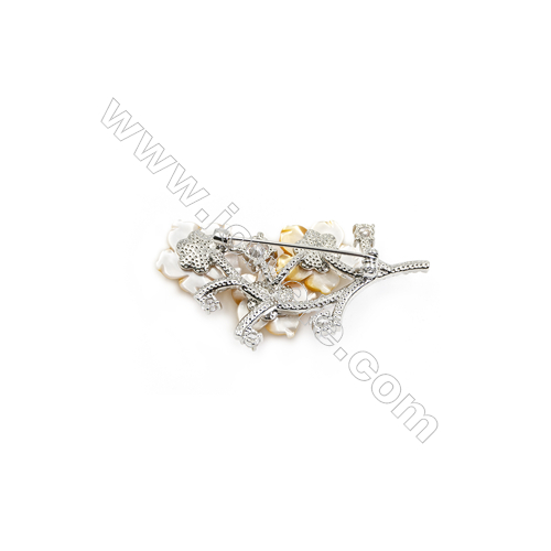 Yellow Flower Mother-of-pearl Shell CZ Brooch x 1Piece  Sterling Silver Plated  Size 26x50mm