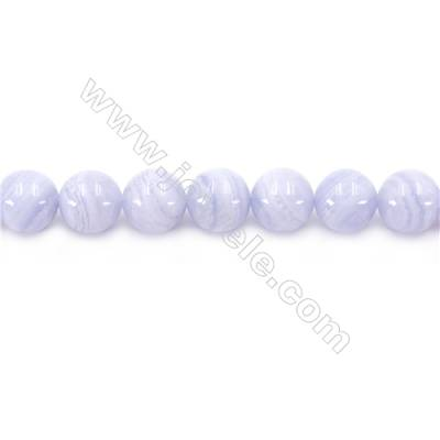 Natural Blue Lace Agate Beads Strand  Round  Diameter 10mm  Hole 1mm  about 39 beads/strand 15~16""