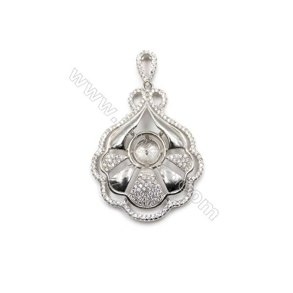 Sterling silver platinum plated zircon pendant, 32x41mm, x 5pcs, tray 11mm, needle 0.7mm