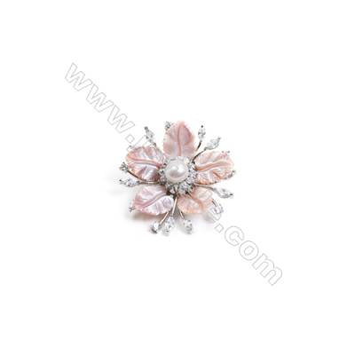 Pink Flower Mother-of-pearl Shell CZ Brooch x 1Piece  Sterling Silver Plated  Size 40x40mm