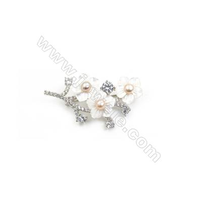 White Flower Mother-of-pearl Shell CZ Brooch x 1Piece  Sterling Silver Plated  Size 24x49mm