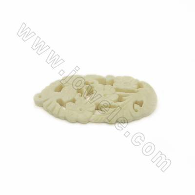 Handmade Carved Ox Bone Pendants, Flower Pattern, White, Size 55x31x5mm, Hole 0.7mm, 10pcs/pack