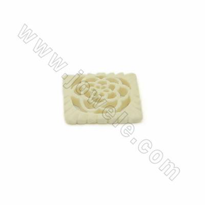 Handmade Carved Ox Bone Pendants, Rectangle with Flower Pattern, White, Size 29x30x5mm, 10pcs/pack