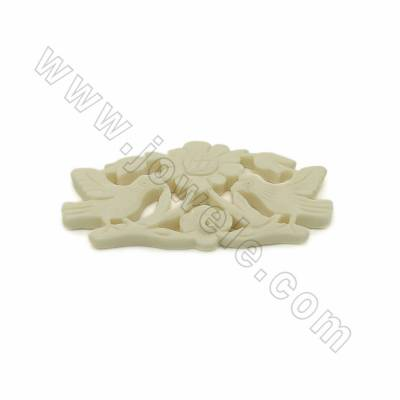 Handmade Carved Ox Bone Pendants, Flower and Bird, White, Size 52x30x4mm, 10pcs/pack