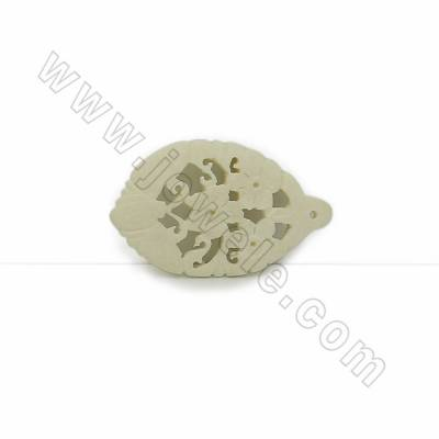 Handmade Carved Ox Bone Pendants, Flower Pattern, White, Size 50x30x4mm, Hole 1mm, 10pcs/pack