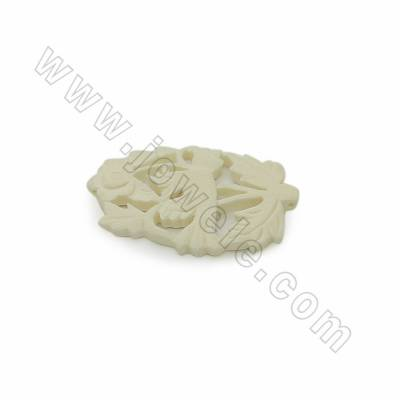 Handmade Carved Ox Bone Pendants, Bird, White, Size 32x47x4mm, Hole 1mm, 10pcs/pack