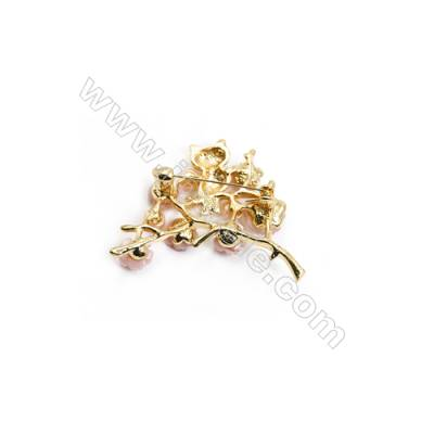Pink Flower Mother-of-pearl Shell Brooch x 1Piece  Gold Plated  Size 40x43mm