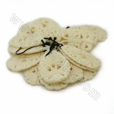 Handmade Carved Ox Bone Pendants, Flower, White, Size 32x50x6mm, Hole 1mm, 10pcs/pack