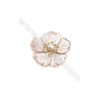 Pink Flower Mother-of-pearl Shell Brooch x 1Piece Gold Plated  Size 34x35mm