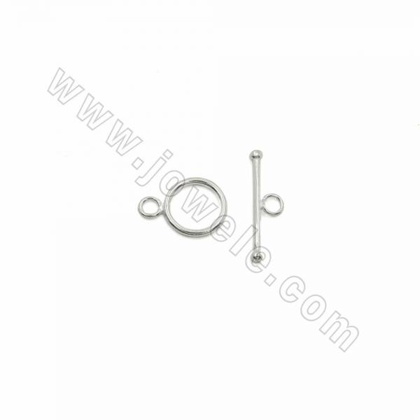 Doreen Beads toggle clasps, round, 925 sterling silver, 12mm, x 15pcs