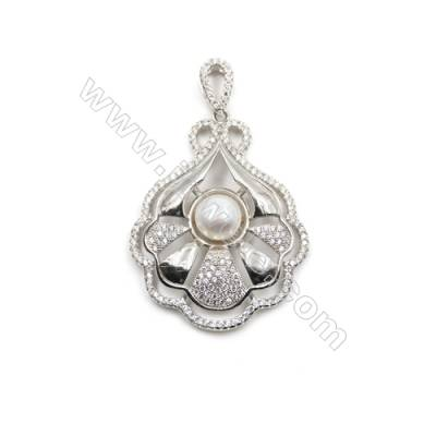 Sterling silver platinum plated zircon pendant-D5612 32x41mm x 5pcs disc diameter 11mm small needle diameter 0.7mm