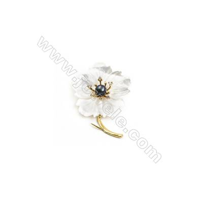 White Flower Mother-of-pearl Shell CZ Brooch x 1Piece  Gold Plated  Size 39x54mm