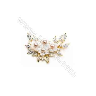 White Flower Mother-of-pearl Shell CZ Brooch x 1Piece  Gold Plated  Size 36x55mm